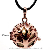 bobijoo Jewellery Tree of Life – Bola Pregnancy Necklace Cage with Real Gold Leaf Rose Gold Metallic