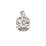 Bell Pendant Perforated Hearts, with cubic zirconia white, 925 Sterling Silver