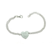Bracelet double cable chain with heart central engraved