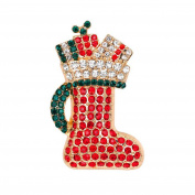 Cdet 1X Brooch Women Red Socks Diamond Pin Christmas Wedding Bridal Pin Dress Scarves Shawl Clip Ladies Jewellery Love Gift