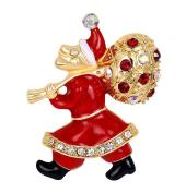 Cdet 1X Brooch Women Santa Diamond Pin Christmas Wedding Bridal Pin Dress Scarves Shawl Clip Ladies Jewellery Love Gift