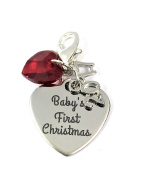 Baby's First Christmas and 2017 Charm Clip on Charm with Red Crystal comes in a Velvet Gift Bag Handmade by Libby's Market Place ~ From UK Seller