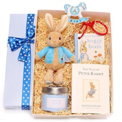 Gift box baby girl hamper, Gift box with Beatix Potter Flopsy Bunny rattle, The Tales Of Peter Rabbit story book, Peter Rabbit buggy book, a scented candle by The Country Candle Company and decoration, new baby gift, baby girl gift