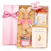 Gift box baby boy hamper, Gift box with Beatix Potter Peter Rabbit rattle, The Tales Of Peter Rabbit story book, Peter Rabbit buggy book, a scented candle by The Country Candle Company and decoration, new baby gift, baby boy gift