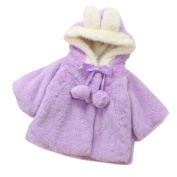 Baby Coat,Honestyi Baby Infant Girls Autumn Winter Hooded Coat Cloak Jacket Thick Warm Clothes,Three quarter sleeve,Cotton Blend