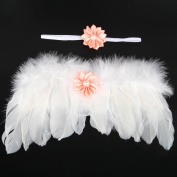 Baby Clothes For Photography-Auykoop Newborn Baby Handmade Angel Feather Wings Photography Suit Photo Prop Outfit Clothes Headband Set