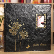 TING- High Capacity Photo Album Insert Page 15cm X 10cm Black Inside Page PU Leather Cover Family Album Children's Memorial Memorial Gifts Baby Booklet