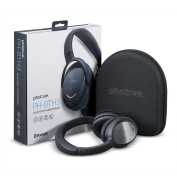 Refurbished Photive BTH3 Over-The-Ear Wireless Bluetooth Headphones with Built-in Mic. Includes Travel Case.