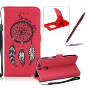 Leather Case for Huawei P9 Plus,Strap Flip Wallet Cover for Huawei P9 Plus,Herzzer Luxury Stylish Shining Bling Glitter Dreamcatcher Design Red PU Leather Stand Card Holder and ID Slot Money Pouch Magnetic Clasp Slim Flip Protective Skin Case Cover for ..
