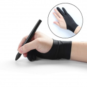 Artist Glove Free Size Anti-fouling Drawing Glove with Two Fingers for Graphics Drawing Tablet Pen Display Light Box