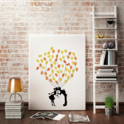 LNPP Creative DIY Fingerprint Canvas Painting Signature Sign-in Guest Book for Wedding Birthday Party Baby Shower Graduation with 4pcs Ink Pads,12*41cm