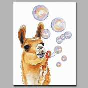 SHENCHI Hand-Painted Animal Vertical Artistic Cartoon Birthday Christmas New Year's One Panel Canvas Oil Painting For Home Decoration include inner frame 70cm x 50cm