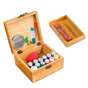 Wooden Sewing Box Sewing Kit Organiser with Sewing Accessories