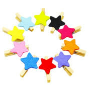 Qinlee 50pcs Wooden Photo Clips Clothes Paper Mini Colourful Star Wooden Pegs Clothespins Clips for Hanging Photos Art Craft DIY Picture