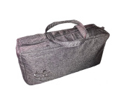 Large Knitting Wool / Yarn / Craft Storage Bag Charcoal Embroided Flower
