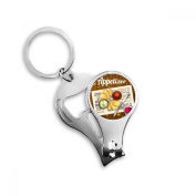 Appetiser Slice of Bread Wine Key Chain Ring Multi-function Nail Clippers Bottle Opener Gift