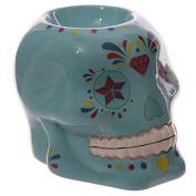 Blue Candy Skull Day Of The Dead Ceramic Oil Burner