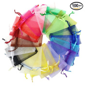 Laat 100 Pcs 6.9cm X3.13cm Small Organza Bags/Pouches Organza Gift Bags/Jewellery Bags For Wedding, Jewellery, Gifts