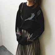 Malilove Students Loose Hoodies Female Black Hat Knitted Coat Dress Code F