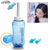 Lorcoo Blue Nasal Wash Pot Device, 300ml Nasal Nose Wash Bottle Nasal Cleanse for Adults & Children