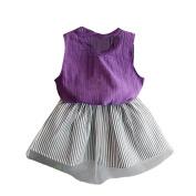 Kingko® Girl Dress T-shirt Fashion Baby Girl Clothing Sleeveless Blouse T-shirt+Stripe Short Skirt Summer Outfits Clothes Purple