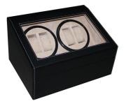 4 + 6 Black Leatherette Automatic Watch Winder & Storage Watch Box Display Case