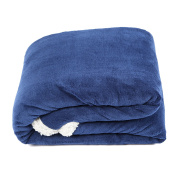 SnugMe Coral Sherpa, High quality XXL Cudly Blanket Made of Fluffy and Soft Fleece & Lamb Pile Plush, 200 x 150cm, navy blue