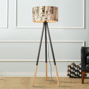 Atmko®Modern Floor Lamp American Style Graffiti Fabric Shade Wooden Tripod Standing Reading Lamp Light With Foot Switch For Bedroom Living Room