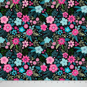 Soimoi Decorative 110cm Inches Wide Floral Print Fabric 105 GSM Poly Satin Material By The Metre - Multicolour