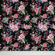 Soimoi Black Floral Printed 110cm Inches Wide Moss Georgette Dressmaking Craft Sewing Material By The Metre - Black