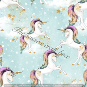 Magical unicorns Printed Canvas fabric sheet x 1 for Hair bow making templates and other crafts