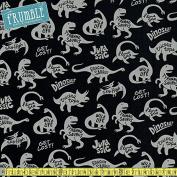 Kokka CANVAS Jurassic Life Black Sewing Fabric