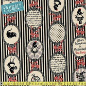 Lecien CANVAS Girls Story Alice In Wonderland Tea Party Stripe Black Sewing Fabric