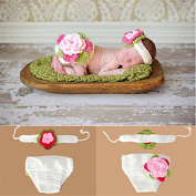 Baby Clothes For Photography-Auykoop Newborn Baby Handmade Knitted Photography Suit Photo Prop Outfit Clothes Headband Set