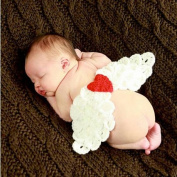 Baby Clothes For Photography-Auykoop Newborn Baby Handmade Knitted Angel Wings Photography Suit Photo Prop Outfit Clothes Set