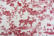 Sanaya French linen Toile de Jouy Red Curtain Fabric Designer Material Sewing Upholstery Curtain Craft Fabric