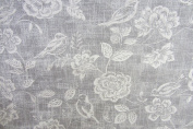 Reverse Toile Chambray Grey Cotton Curtain Fabric Designer Material Sewing Upholstery Curtain Craft Fabric