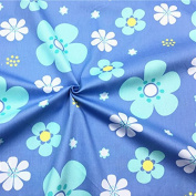 100x160cm Cotton Twill Fabric DIY Craft Material Print Big Blue Flower T1711f