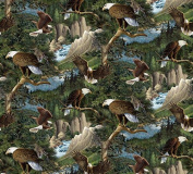 Wild Wings Flying High Pkd in Trees Fabric, Cotton, Brown