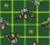 John Deere Square Plaid Tractors Fabric, Cotton, Green