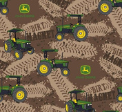 John Deere Dirt Magnet Tractors Fabric, Cotton, Brown