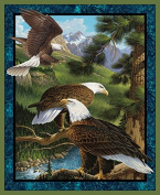 Wild Wings Flying High Panel Fabric, Cotton, Brown