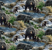 Wild Wings Cool Waters Bear Scenic Fabric, Cotton, Multicolor