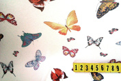 Polyester Lycra Chiffon Stretch Fabric - Butterfly Print Design - New off the roll - per metre
