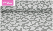 "Premium 100% Cotton Fabric, fashionable patterns, width 160cm (63"") per 0,5 metre – butterfly grey with dots"