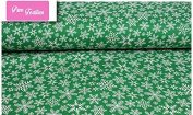 "Premium 100% Cotton Fabric, fashionable patterns, width 160cm (63"") per 0,5 metre – winter snowflakes on green, christmas"