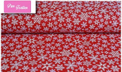 "Premium 100% Cotton Fabric, fashionable patterns, width 160cm (63"") per 0,5 metre – winter snowflakes on red, christmas"
