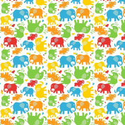"Premium 100% Cotton Fabric, fashionable patterns, width 160cm (63"") per 0,5 metre – mulitcolored elephants"