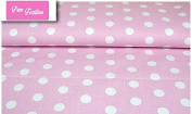 "Premium 100% Cotton Fabric, fashionable patterns, width 160cm (63"") per 0,5 metre – Big dots on pink"