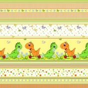 "Premium 100% Cotton Fabric, fashionable patterns, width 160cm (63"") per 0,5 metre – orange dino, baby dinosaur"